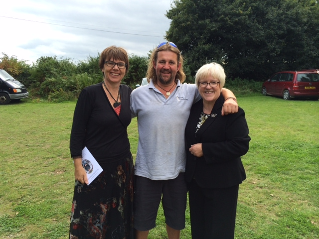 Jonny Yaxley (Center) with Celebrant and Funeral Director Claire Turnham (left) and Evelyn Temple (right) at Henley Woodland Burial Ground