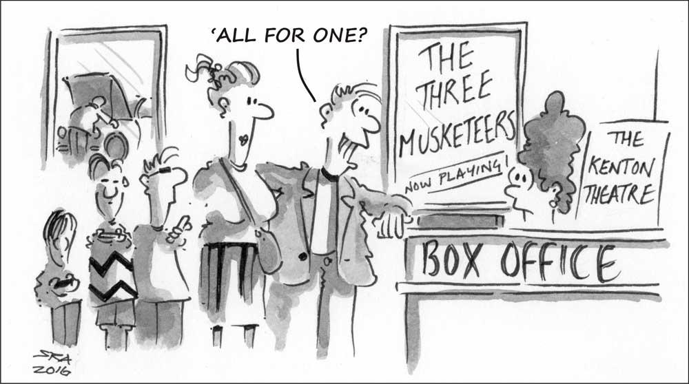 Three Musketeers cartoon on the Henley Herald
