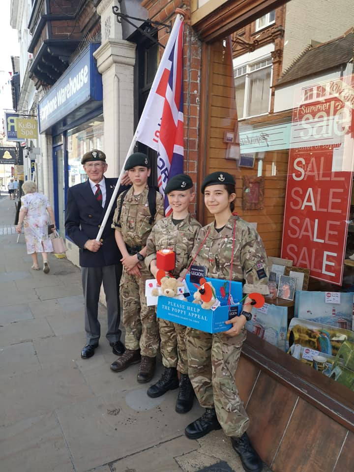 Serjeant Tom Fielder at last years Armed Forces Day, collecting donations with Mr John Green, Chairman of the Henley & Peppard Branch for the Royal British Legion.